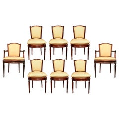 Set of Eight Late 19th Century Louis XVI Style Mahogany Dining Chairs
