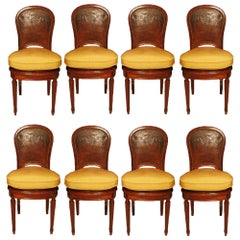 Set of Eight Late 19th Century Louis XVI Style Mahogany and Leather Chairs
