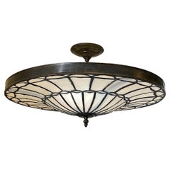 Set of Eight Leaded Glass Pendant Light Fixtures, Sold Individually