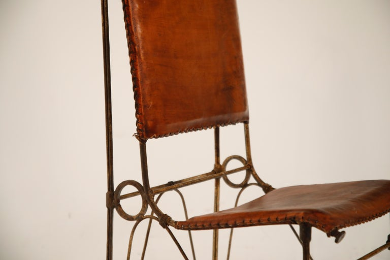 Set of Eight Leather and Wrought Iron Side Chairs after Ilana Goor For Sale 5