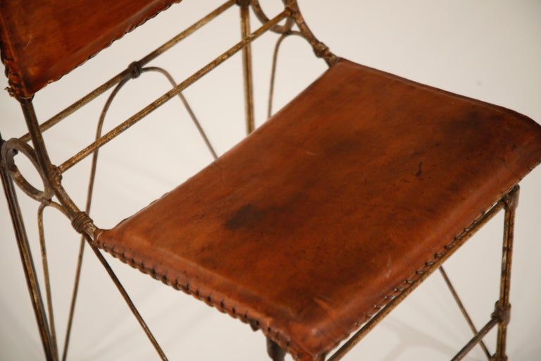 Set of Eight Leather and Wrought Iron Side Chairs after Ilana Goor For Sale 8