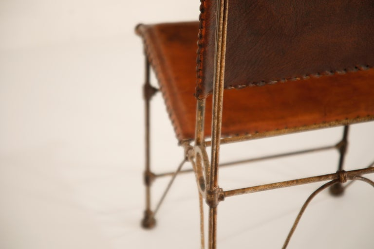 Set of Eight Leather and Wrought Iron Side Chairs after Ilana Goor For Sale 11