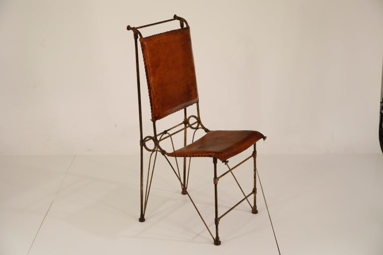 American Set of Eight Leather and Wrought Iron Side Chairs after Ilana Goor For Sale