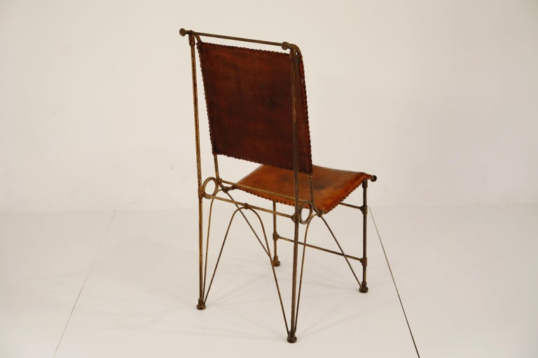 Late 20th Century Set of Eight Leather and Wrought Iron Side Chairs after Ilana Goor For Sale