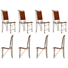 Set of Eight Leather and Wrought Iron Side Chairs after Ilana Goor