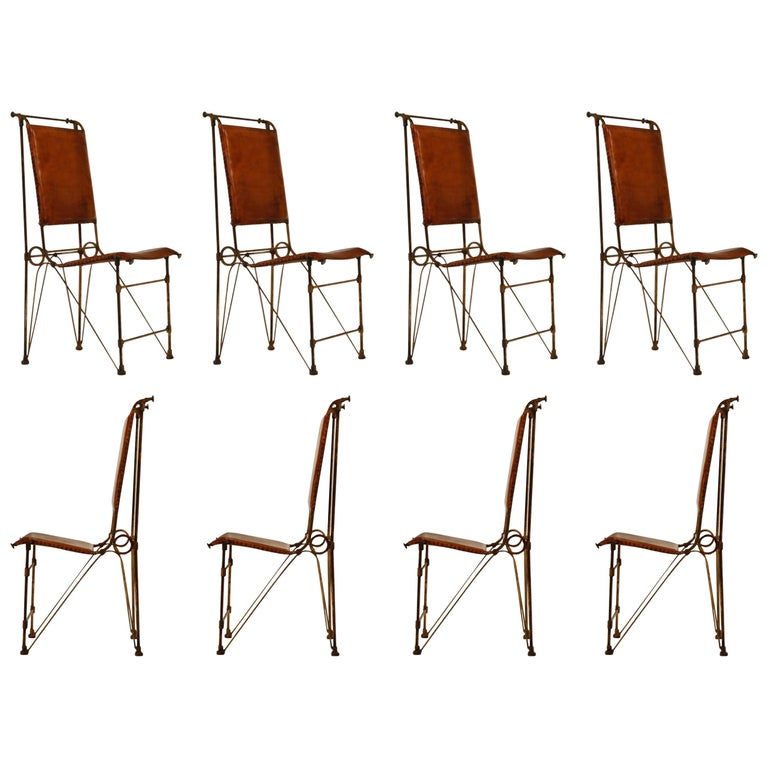 Set of Eight Leather and Wrought Iron Side Chairs after Ilana Goor For Sale