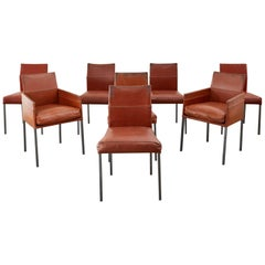 Set of Eight Leather Chairs by Karl-Friedrich Forster