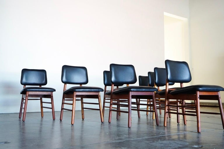 Set of Eight Leather Model 6260 Chairs by Greta Grossman for Glenn of California 4