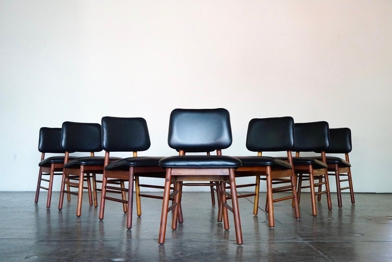 Set of Eight Leather Model 6260 Chairs by Greta Grossman for Glenn of California 5