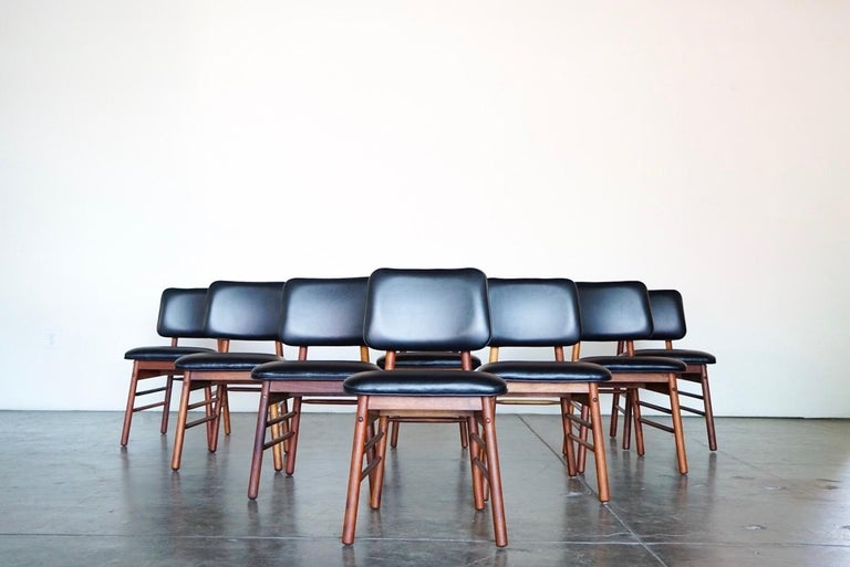 Set of Eight Leather Model 6260 Chairs by Greta Grossman for Glenn of California 7