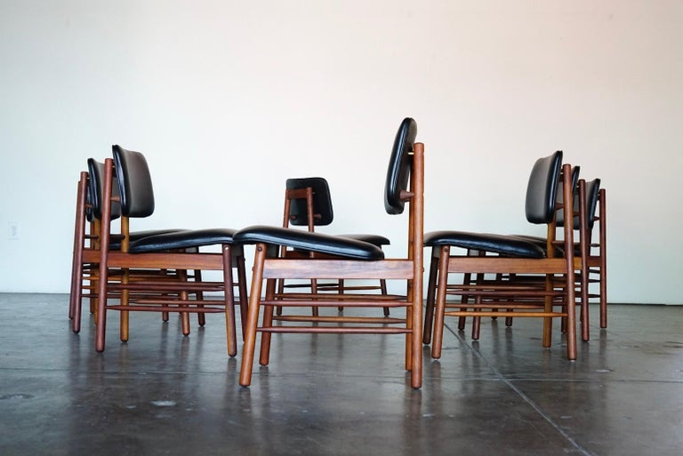 Set of Eight Leather Model 6260 Chairs by Greta Grossman for Glenn of California 8