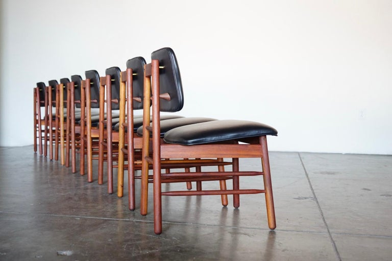 Set of Eight Leather Model 6260 Chairs by Greta Grossman for Glenn of California 9