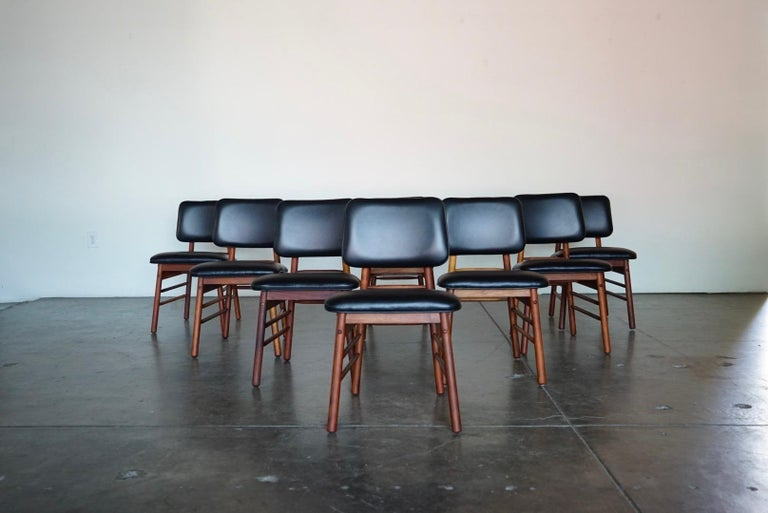 Mid-Century Modern Set of Eight Leather Model 6260 Chairs by Greta Grossman for Glenn of California