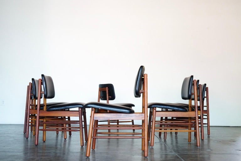 American Set of Eight Leather Model 6260 Chairs by Greta Grossman for Glenn of California