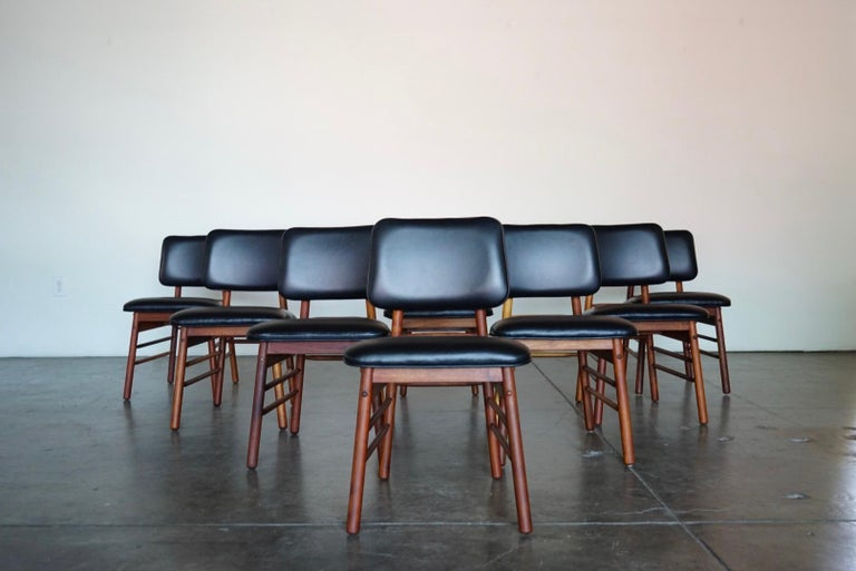 Mid-20th Century Set of Eight Leather Model 6260 Chairs by Greta Grossman for Glenn of California
