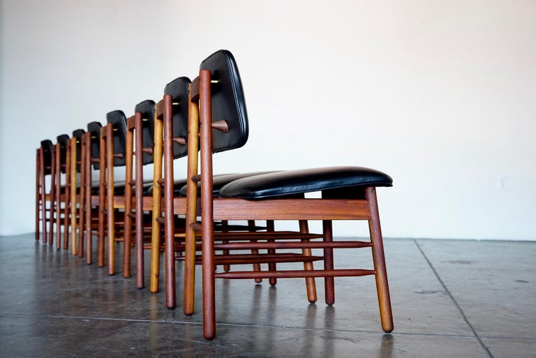 Set of Eight Leather Model 6260 Chairs by Greta Grossman for Glenn of California 1