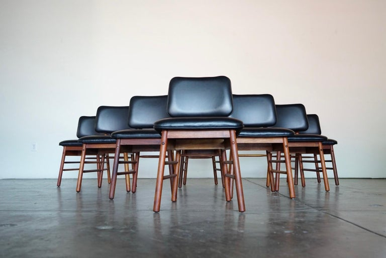 Set of Eight Leather Model 6260 Chairs by Greta Grossman for Glenn of California 2