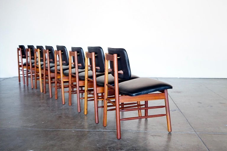 Set of Eight Leather Model 6260 Chairs by Greta Grossman for Glenn of California 3