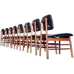 Set of Eight Leather Model 6260 Chairs by Greta Grossman for Glenn of California