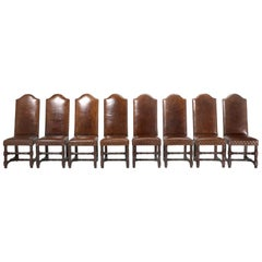 Set of Eight Leather Side Chairs