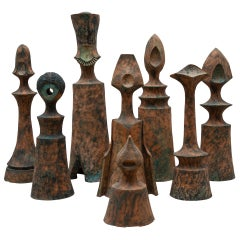 Set of Eight Life-Size Decorative and Sculptural Ceramic Chess Pieces, 1970s
