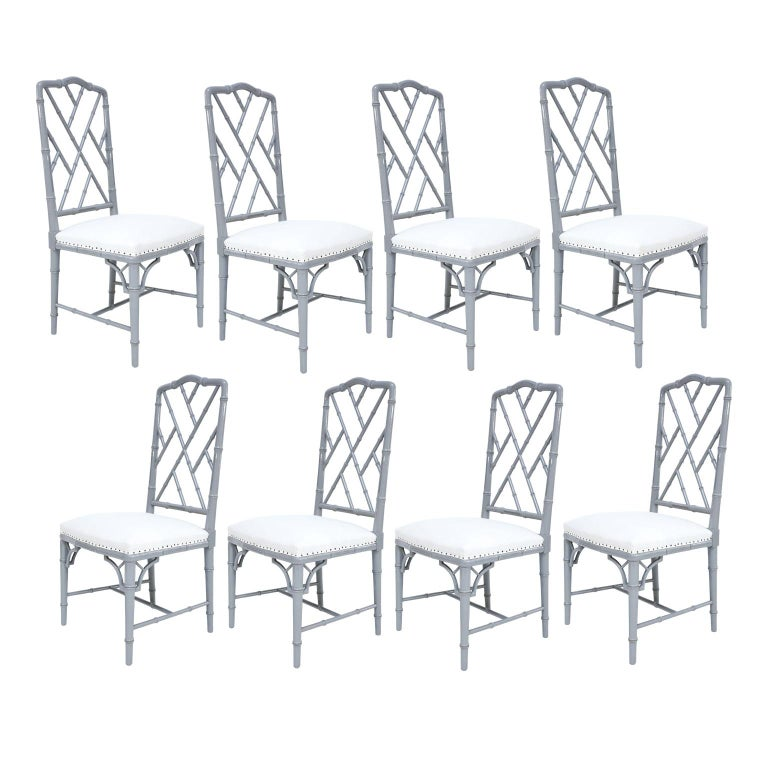 Set of Eight-Light Gray Lacquered Dining Chairs For Sale 9