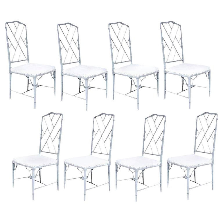 Set of Eight-Light Gray Lacquered Dining Chairs For Sale 10