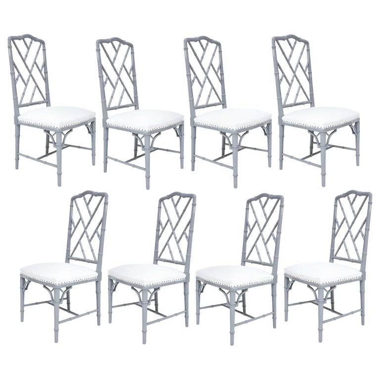 Set of Eight-Light Gray Lacquered Dining Chairs For Sale