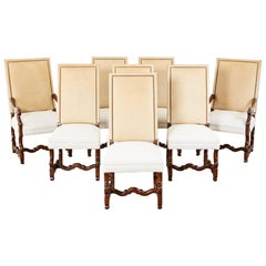 Set of Eight Linen and Leather Os de Mouton Dining Chairs