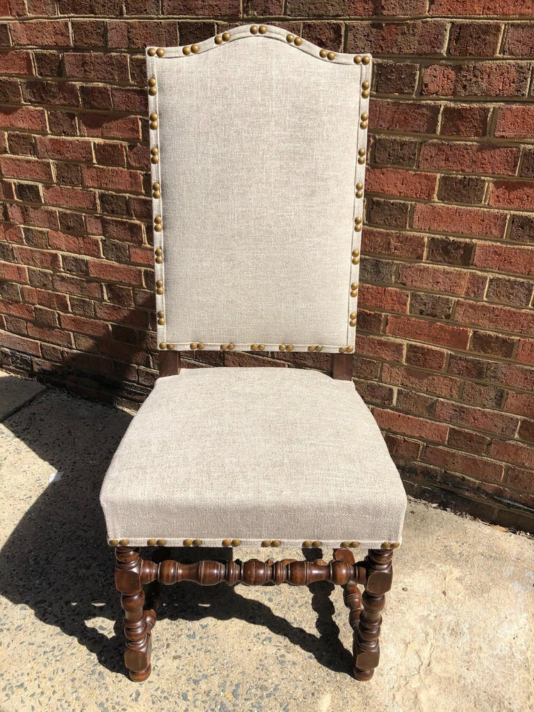 Hand-Crafted Set of Eight Off White Louis XIV Style French Provincial Dining Chairs  For Sale