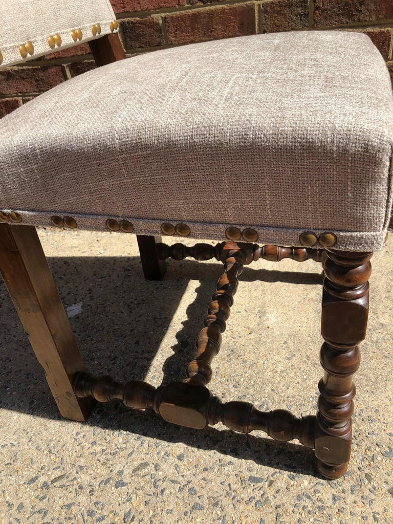 Set of Eight Off White Louis XIV Style French Provincial Dining Chairs  In Excellent Condition For Sale In Middleburg, VA