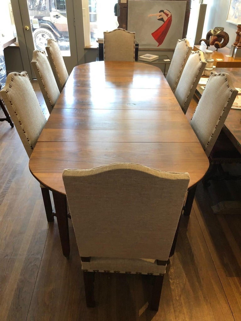 Walnut Set of Eight Off White Louis XIV Style French Provincial Dining Chairs  For Sale