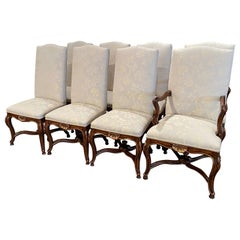 Set of Eight Louis XV Style Carved Walnut Dining Chairs from Minton-Spidell
