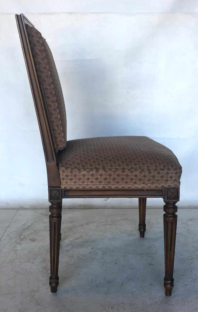 Carved Set of Eight Louis XVI Dining Chairs in the Style of Maison Jansen For Sale
