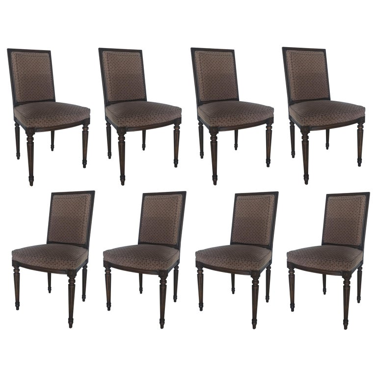 Set of Eight Louis XVI Dining Chairs in the Style of Maison Jansen For Sale