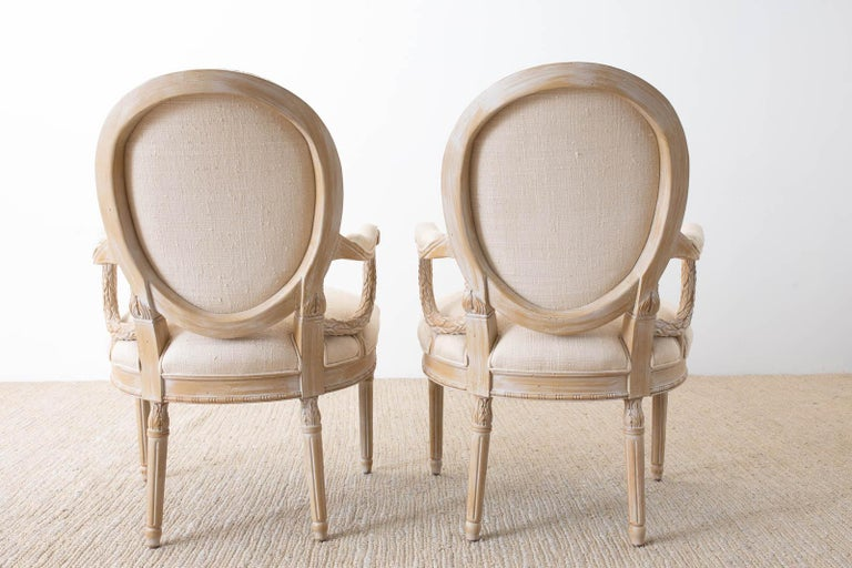 Set of Eight Louis XVI Gustavian Style Dining Armchairs For Sale 5