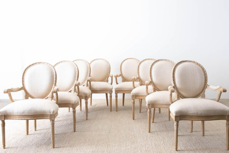 American Set of Eight Louis XVI Gustavian Style Dining Armchairs For Sale