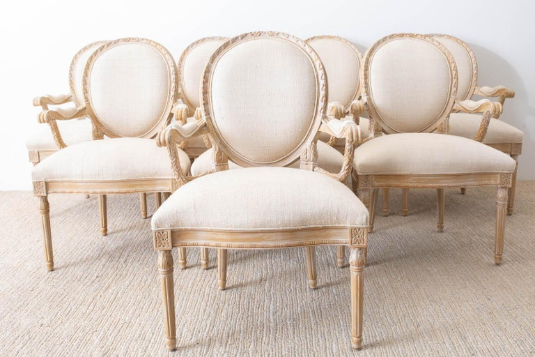 Hand-Crafted Set of Eight Louis XVI Gustavian Style Dining Armchairs For Sale