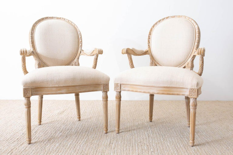 Set of Eight Louis XVI Gustavian Style Dining Armchairs In Good Condition For Sale In Oakland, CA