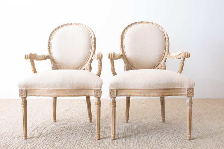 Contemporary Set of Eight Louis XVI Gustavian Style Dining Armchairs For Sale