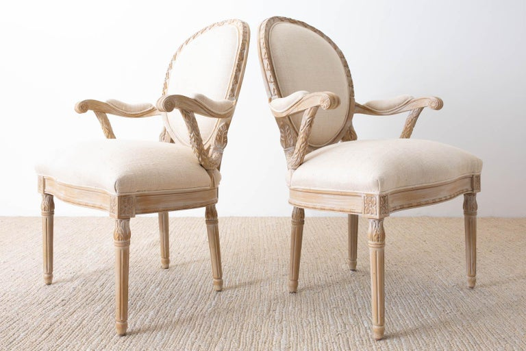 Hardwood Set of Eight Louis XVI Gustavian Style Dining Armchairs For Sale