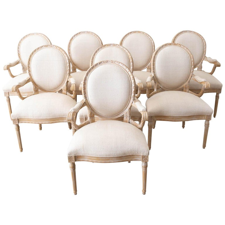 Set of Eight Louis XVI Gustavian Style Dining Armchairs For Sale