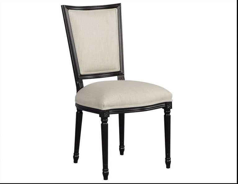 set of eight louis xvi style black lacquer dining chairs for sale at 1stdibs. Black Bedroom Furniture Sets. Home Design Ideas