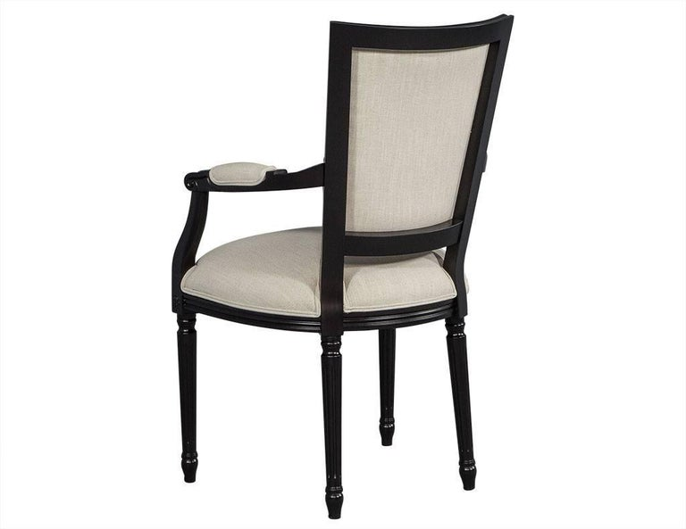 Contemporary Set of Eight Louis XVI Style Black Lacquer Dining Chairs For Sale