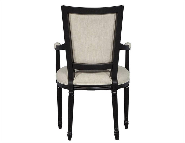 Fabric Set of Eight Louis XVI Style Black Lacquer Dining Chairs For Sale