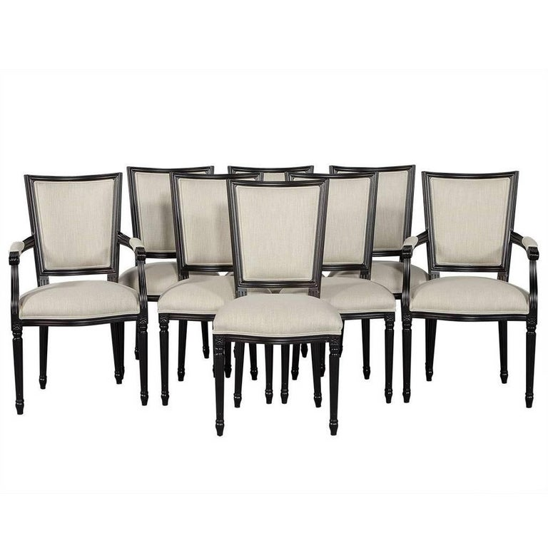 Set of Eight Louis XVI Style Black Lacquer Dining Chairs For Sale