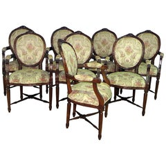 Set of Eight Cameo Back Louis XVI Style Dining Chairs with Stretcher Bases