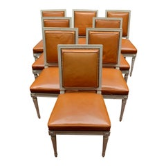 Set of Eight Newly Restored and Upholstered Louis XVI Style Dining Chairs