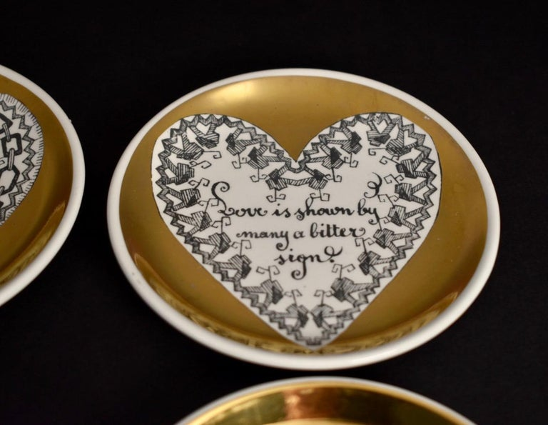 Set of Eight LOVE Fornasetti Coasters 6