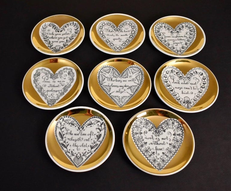 Mid-Century Modern Set of Eight LOVE Fornasetti Coasters
